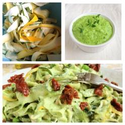 """Zucchini""""pasta"""" med ärtpestosås & soltorkade tomater (raw, veg)"""