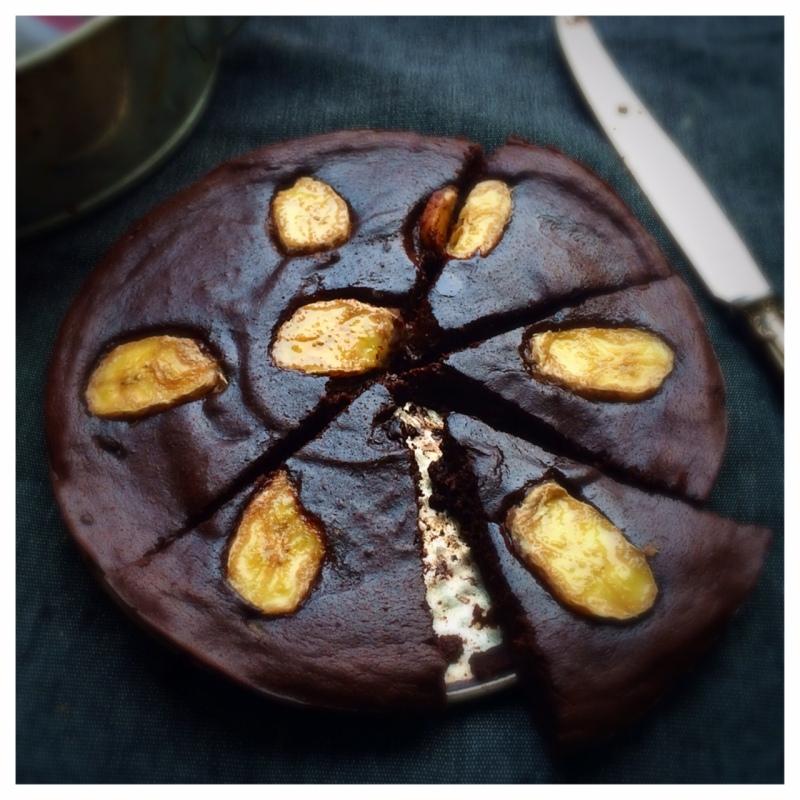 banan och choklad kladdkaka, mjölkfri, sockerfri, glutenfri, paleo 2