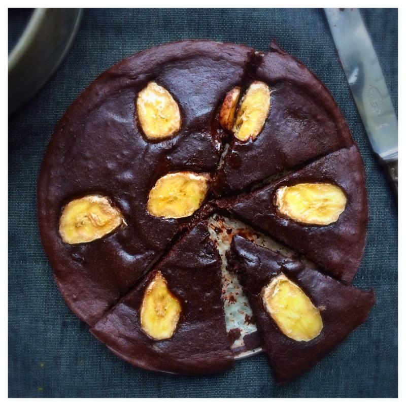 banan och choklad kladdkaka, mjölkfri, sockerfri, glutenfri, paleo