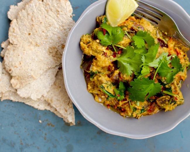 auberginecurry med rågchapati (vegan)